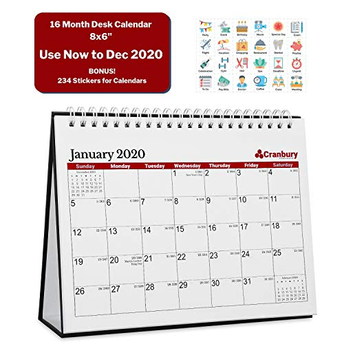 Small 2020 Desk Calendar 8x6 (Red), Use Now to December 2020, Monthly Flip Desktop Counter Top with Bonus Planner Stickers for Family and Office