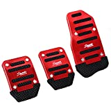 SODIAL(R) 3 Pcs Black Red Metal Plastic Nonslip Pedal Cover Set for Car