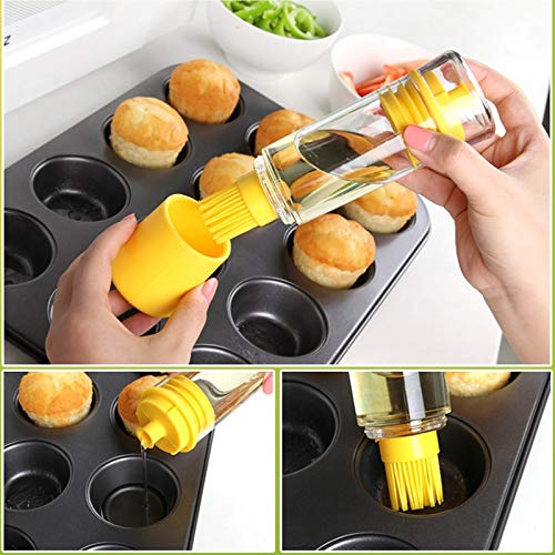 PlenTree 100Ml Creative Oil Pot with Rubber Brus Oil Bottle for Cooking Barbecue BBQ Oil Brush Kitchen Accessories Supplies