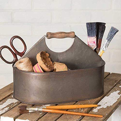 Colonial Tin Works Vintage Industrial Craft Caddy/Caddy Farmhouse Chic,Brown