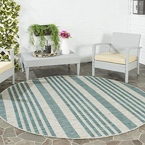 Safavieh Courtyard Collection CY8062-37212 Stripe Indoor Outdoor Area Rug, 7 10 Round, Grey Blue