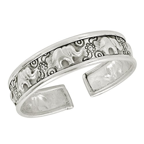 AeraVida Pretty Elephant and Flower Thai Karen Hill Tribe Fine Silver Cuff -