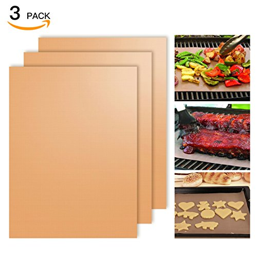 SHINE HAI Copper Grill Mat Set of 3, 100% Non-Stick BBQ Grill & Baking Mats, PFOA Free, Reusable and Easy to Clean, BBQ Accessories for Gas, Charcoal, Electric Grill -15.75 x 13 Inch