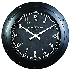 Derby Army Air Corps Decorative Wall Clock, Vintage Unique Wall Clock for Outdoor and Home Decor, Black