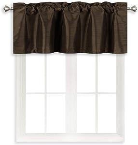 Home Queen Rod Pocket Room Darkening Curtain Valance Window Treatment for Kitchen Room, Short Straight Drape Valance, Set of 1, 132 cm x 46 cm (52 X 18 Inch), Brown