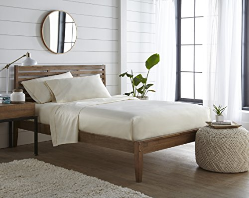 500 TC, 100 % Long Staple Ultrafine cotton, Luxury Bedding, Hotel Collection, fits mattress up to 16 inch, Solid Sateen Weave , 4 Sheet Set Pleated Hem (Queen Ivory) By ()