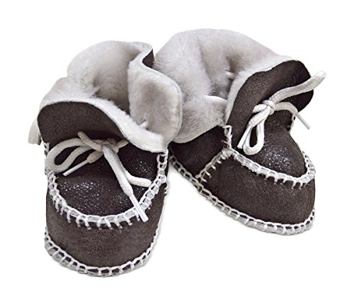 Toscana SHEARLING Supersoft oveja bebé patucos marrón glitter brown suede & white shearling Talla:Size 3-12 months glitter brown suede & white shearling