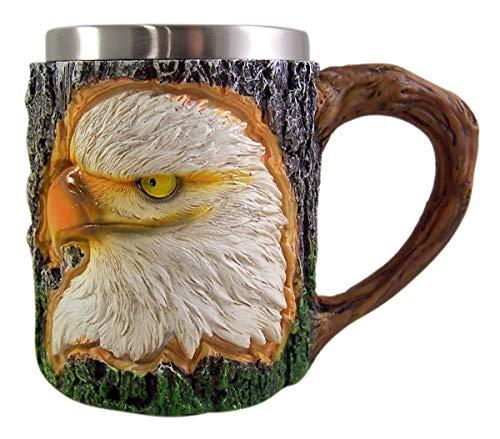 Bald Eagle Steel Mug - Bald Eagle With Faux Tree Bark Surround 12oz Mug