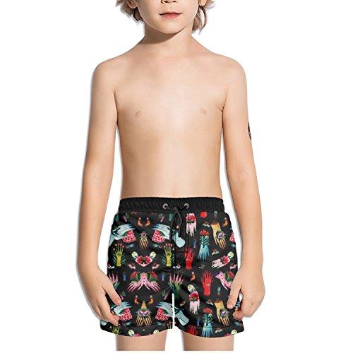 Ouxioaz Boys' Swim Trunk Art Design Hand Eyes Flower Beach Board Shorts ()