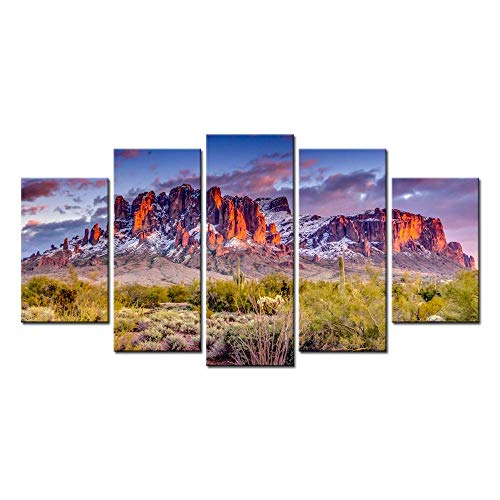 Biuteawal - Superstition Mountains Sunset Arizona Western Wall Art Desert Cactus Landscape Paintings Canvas Art Print Nature Pictures for Home Wall Decoration Ready to Hang -