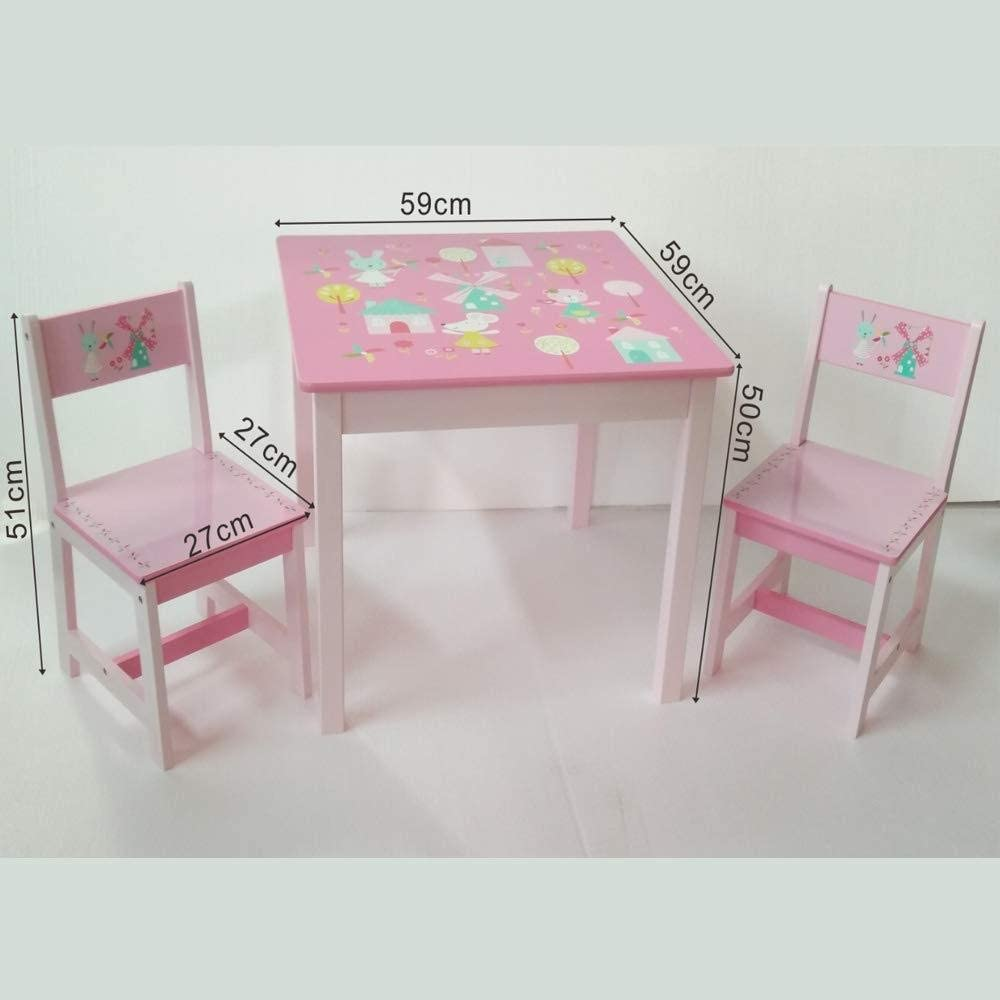 ODT Childrens Furniture Set Wooden 1 Table 2 Chairs 1 Table and 2 Chairs Rabbit and Windmill