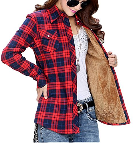 (Totoship Long Sleeve Plaid Flannel Warm Shirt Fleece Lined Blouse Up, Blue Red, ( US 6=Asia XXL ))