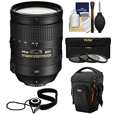 Nikon 28-300mm f/3.5-5.6 G VR AF-S ED Zoom-Nikkor Lens + Holster + 3 Filters Kit for D3200, D3300, D5300, D5500, D7100, D7200, D750, D810 Cameras