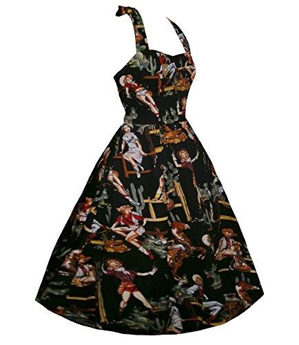Rockabilly Floral Women Vintage DAROJ Swing Black Style Dress Retro Neck 1950s Halter UCt07Wdwq7