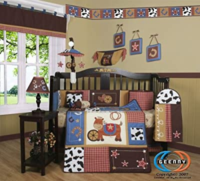 Boutique Horse Western Cowboy 13pcs Crib Bedding Set from GEENNY