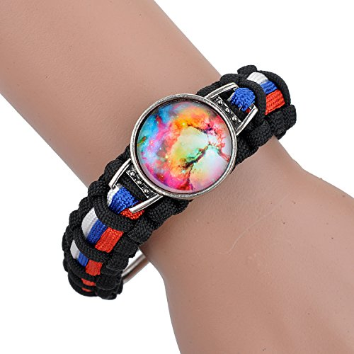 Lureme Time Gem Series Braided String Colorful World Disc Outdoor Survive Bracelet with Adjustable Buckle for Men and Women (06002080)(Black & Red & Blue & White)