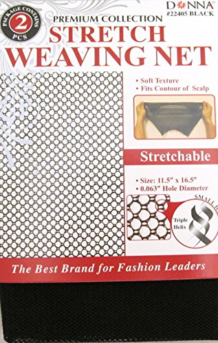 Donna Black Stretchable Deluxe Weaving Net 2 Piece ()