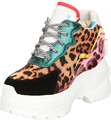 Cambridge Select Women's Retro 90s Rave Iridescent Colorblock Hidden Wedge Extra High Chunky Platform Fashion Sneaker,9 B(M) US,Black