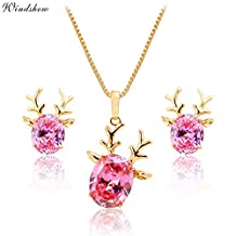 OUBEY Jewelry Gold Plated Deer Head Amethyst Ruby Pendant Necklace Stud Earrings Baby Children Kids Girls Jewelry Sets