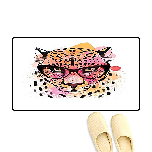 - Bath Mat Watercolor Style Portrait of Leopard with Glasses Splashing Paint Art Style Door Mat Indoors Orange Pink Brown 16