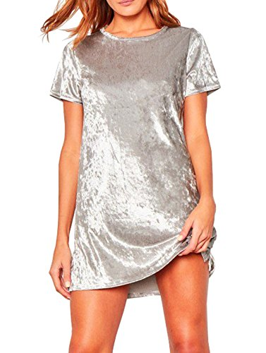 R.Vivimos Women's Summer Short Sleeve Crushed Velvet Mini Short Dresses (XL, Silver)