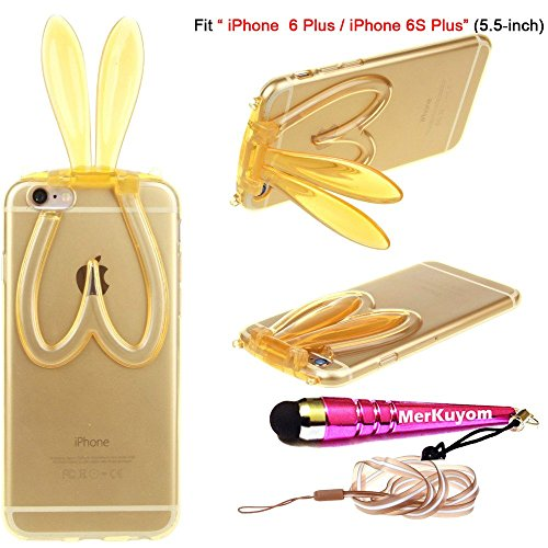Fit [iPhone 6S Plus / iPhone 6 Plus], MerKuyom-[Cute Rabbit Foldable Ears] (5.5-inch) Clear Case Protector Flexible Gel Soft TPU Case Cover For Apple iPhone 6S Plus, iPhone 6Plus + Stylus (Brown)