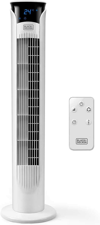 Black + Decker – BXEFT48E Ventilador de torre digital oscilante y silencioso con mando a distancia. 81cm de altura. 3 velocidades. 3 modos. Temporizador 12h. Temperatura ambiente. Potente. Blanco.