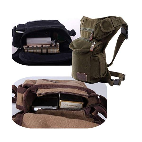 ELEGIANT - Riñonera deportiva de pernera, bolsa para uso diario, con múltiples bolsillos, monedero de seguridad para pierna, para viajes, escalada, ciclismo y correr, cinturón de fijación con longitud ajustable 2