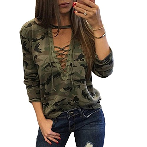 Camouflage Shirt Longues V Ajuste T Maxi Lacets Aelegant Vert Profond Couleur Sexy Col Femmes Manches qwtOSv