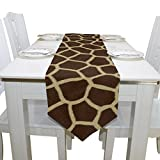 SAVSV 13 x 90 inch Fabric Table Runner Place Mats Animal Print Giraffe Texture for Kitchen Dining Wedding Party Table Decor Party Decoration