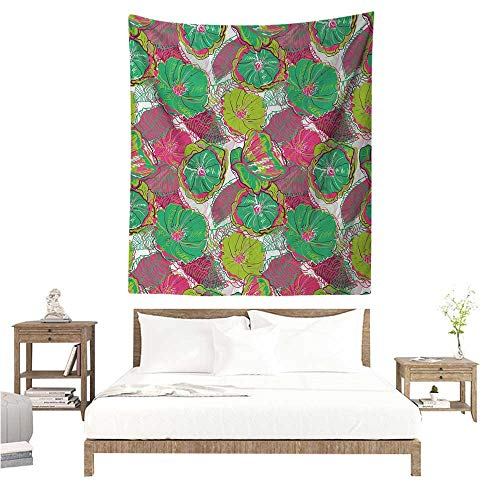 Round Mirror Water Hyacinth - Agoza Floral Wall Tapestry for Bedroom Tropical Blossom Caribbean in Exotic Tones Hyacinth Hippie Print Living Room Background Decorative Painting 54W x 72L INCH Jade and Lime Green Hot Pink