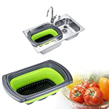Squish Collapsible Colander Over the Sink Expandable Kitchenaid Food Strainer with Handle Food Grade Silicone Wash Fruit Vegetable Basket,Portable Folding Strainer Basket