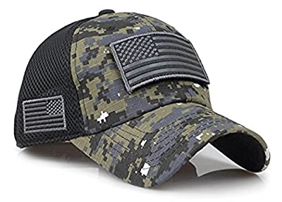 Camouflage Constructed Trucker Special Tactical Operator Forces USA Flag Patch Baseball Cap