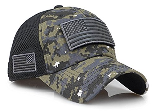 Camouflage Constructed Trucker Special Tactical Operator Forces USA Flag Patch Baseball Cap (Digital Black)