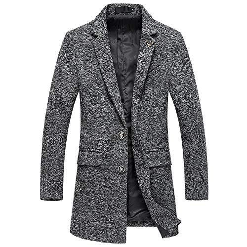 kemilove Men's Winter Classic Collar Single Breasted Quilted Wool Coats (Single Collar)