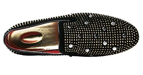 Santimon Slip On Shoes Per Uomo Trendy Rivetto Strass Fatto A Mano Alla Moda Mocassino Casual Nero Nero