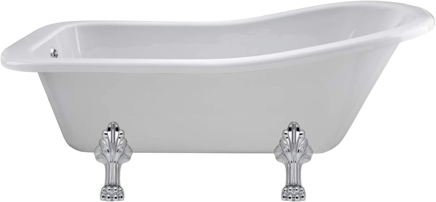 Old London PBW100 Brockley Pride Traditional Bathroom Victorian Style Roll Top Freestanding Single Ended Slipper Bath with Chrome Clawfoot Legset White 1690mm x 745mm