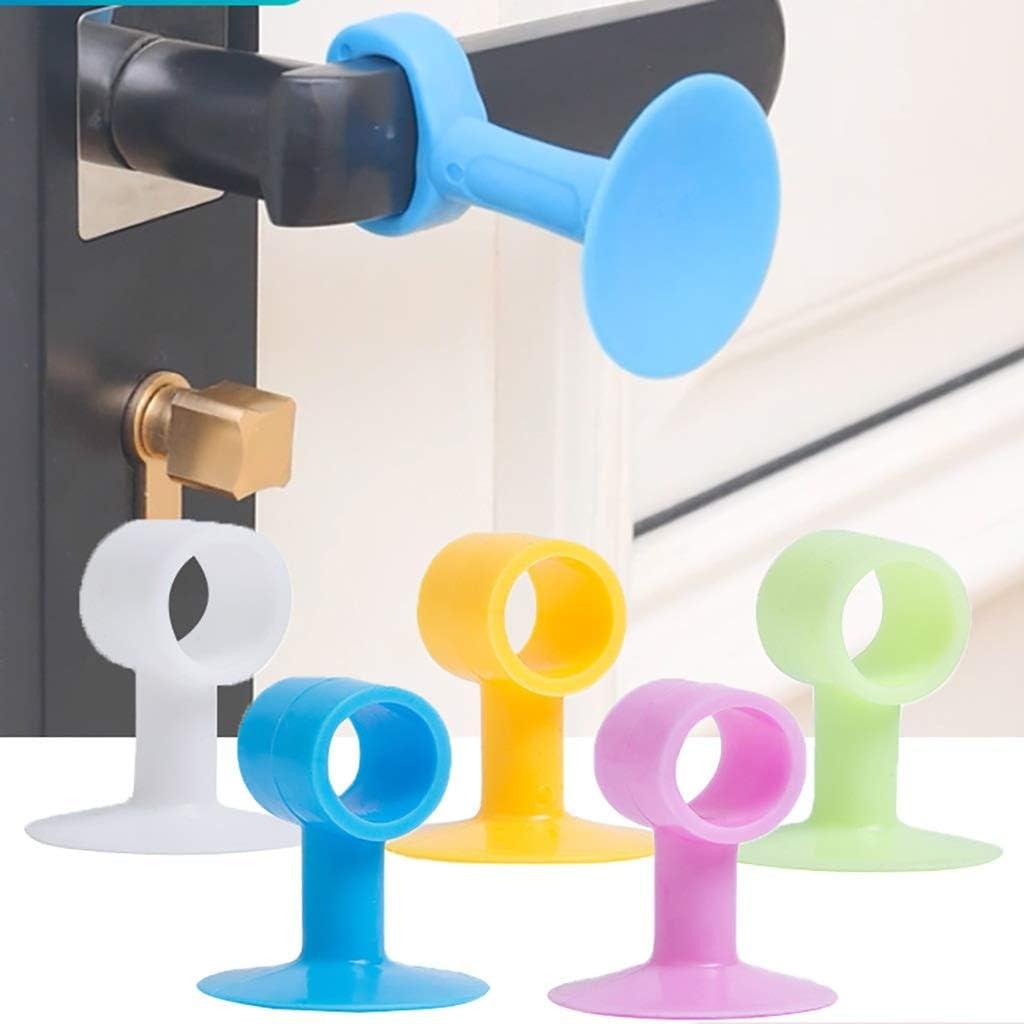 Color : D Guoguocy Door Stops Door Stop,Silicone Door Suction,Rubber Door Touch Door Top Handle Anti-Collision Pad, Round Hole Green