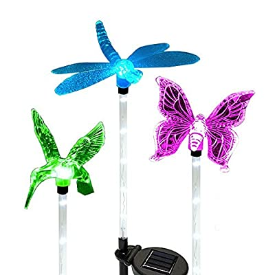 Solar Garden Lights,Hummingbird,Butterfly & Dragonfly Solar Garden Stake Light,Solar Powered Lights Outdoor Multi-color Changing LED Light,Solar Security Lights for Garden,Patio,Backyard By AMZWORLD