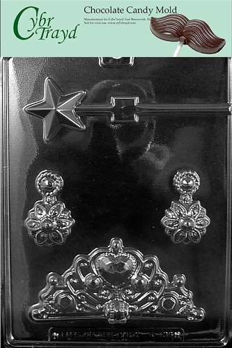 Cybrtrayd Life of the Party K136 Princess Kit Tiara, Earrings, Star Wand Lolly Chocolate Candy Mold in Sealed Protective Poly Bag Imprinted with Copyrighted Cybrtrayd Molding Instructions