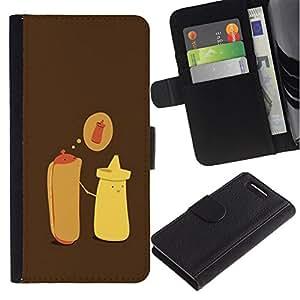 All Phone Most Case / Oferta Especial Cáscara Funda de cuero Monedero Cubierta de proteccion Caso / Wallet Case for Sony Xperia Z1 Compact D5503 // Hot Dog Mustard Cartoon Minimalist