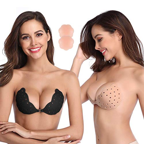 Niidor Sticky Bra, 2 Pack Breathable Strapless Bra Adhesive Push Up Backless Bras for Women-D
