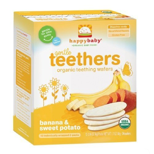 Price comparison product image Happy Baby Gentle Teethers Organic Teething Wafers, Banana & Sweet Potato 12 ea (Pack of 1)