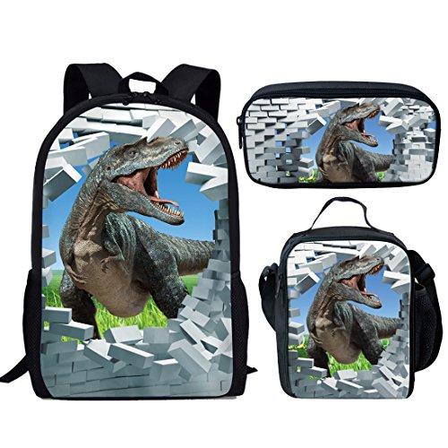 Showudesigns Cute Dinosaur Kids Book Bag Back to School Bagpack + Lunch Box + Pencil Case