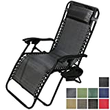 Sunnydaze Charcoal Zero Gravity Lounge Chair with Pillow and Cup Holder