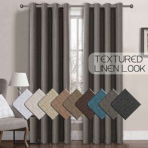 Linen Blackout Curtains 108 Inches Long Room Darkening Heavy Duty Textured Linen Finishing Extra Long Curtains/Draperies for Living Room, 52 by 108 Inch -Taupe Gray Primitive Linen Curtain (1 Panel) ()
