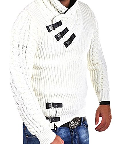 (Runcati Mens Sweaters Pullover Turtleneck Long Sleeve Button Up Cable Knit Ribbed Fall Slim Fit Warm Jumper White)