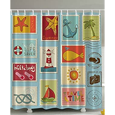Nautical Theme Lighthouse Anchor Palm Trees Beach Sailing Holiday Lover Seascape Collection Bathroom Decor Accessories Home Design Ideas Stamps Digital Print Aqua Polyester Fabric Shower Curtain