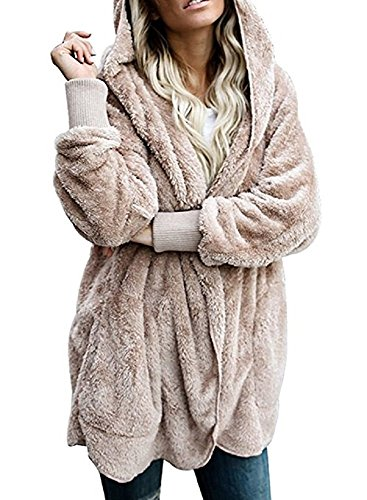 Yanekop Womens Winter Open Front Loose Hooded Fleece Sherpa Jacket Cardigan Coat(Khaki,XL)