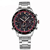 Tidoo Watches Mens Racing Sport Wrist Watch Japaneses Quartz Movement Staintless Steel Black Case Red Meter White Analog Calendar Dial Stainless Steel Band